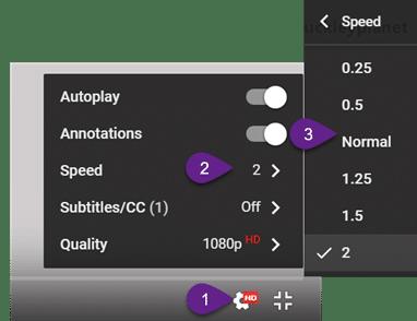 YouTube Video Speed - Menu