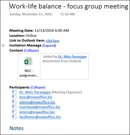 OneNote In Attendance tag - meeting details in OneNote page