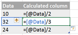 Formulas after Table AutoCorrect Formula is deactivated