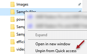 Unpin Quick Access Folder