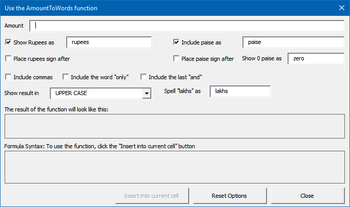 Amount to Words - Syntax generation dialog