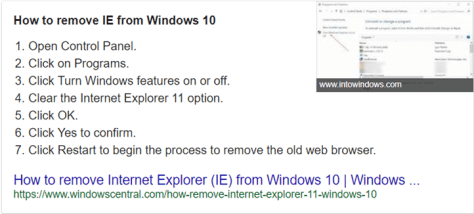Goodbye IE - how to remove IE from windows 10