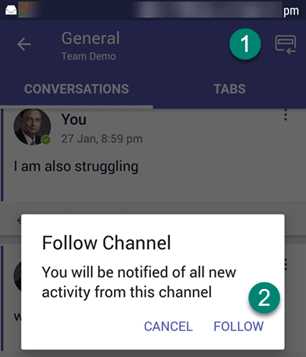 Follow the channel option on mobile app