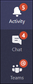 Menu showing Teams Activity tab with symbol indicating number of unread items