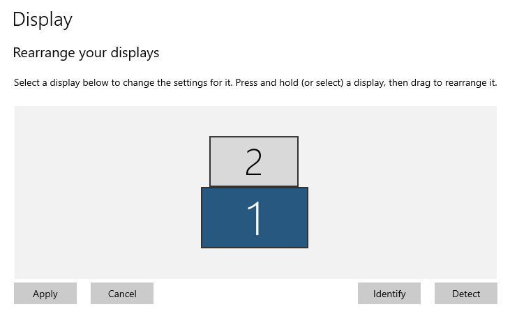 Setting relative position of displays in dual monitor teams presentations