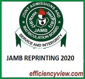 When will UTME Candidates start reprinting of 2020 JAMB UTME Examination Slip