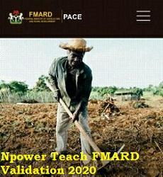 Npower Teach FMARD Validation Registration 2020/2021
