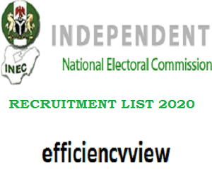 INEC Recruitment of Registration Area Officers List of Successful Shortlisted Candidates 2020/2021