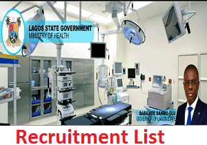 Lagos State Health Service Commission Recruitment List of Shortlisted Candidates 2020/2021