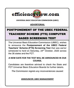 New date for 2020 UBEC FTS CBT Examination Test check here