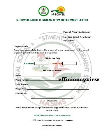 How to Download Npower Teach/ Agro and Health Batch C PPA Deployment Letter via Nasims Portal