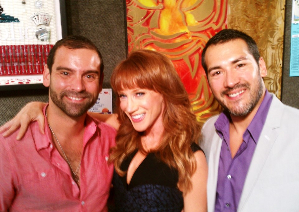 Bashful Bunch; (L to R) Nicholas Cacarnakis, Prudential Realty Bevery Hills Manager, Bravo TV star, Kathy Griffin and Editor-in-chief, F. E. Cornejo