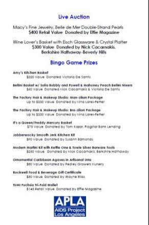 Bingo Prize Donors