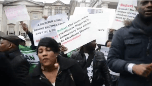 Watch Jobless Nigerians Protesting In Uk For No Good Reason
