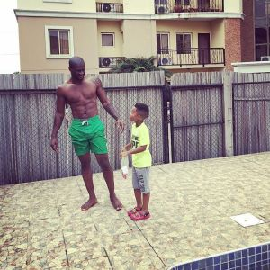 Hot body, Peter Okoye (P-Square) poses with son (Photo)