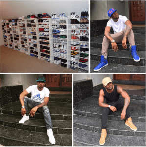 P-Square's Peter Okoye shows off huge sneakers collection (Photo)