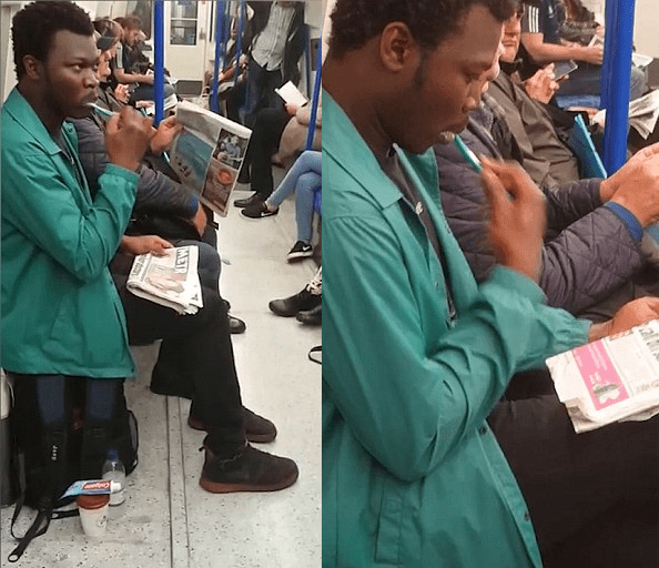 man brushing teeth on london undergound