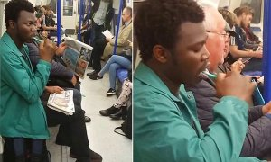 Look at how this man is brushing his teeth on the train (Photos)