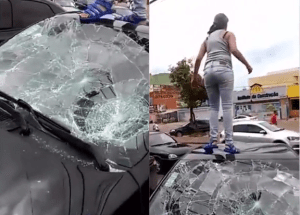 Pregnant wife smashes husband's car after catching him cheating (Photo + Video)