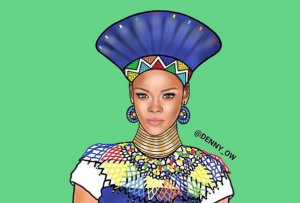 Denny Owusu creates beautiful illustrations of Rihanna, Nicki Minaj, Jay-Z, Drake, others as African chiefs (Photos)