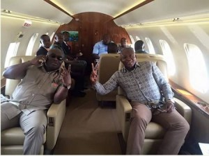Govenor Ikpeazu flies with comrades in a private jet following supreme court victory (Photos)