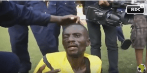Watch: Shocking moment a referee is savagely beaten by rioting fans in DR Congo (Video)