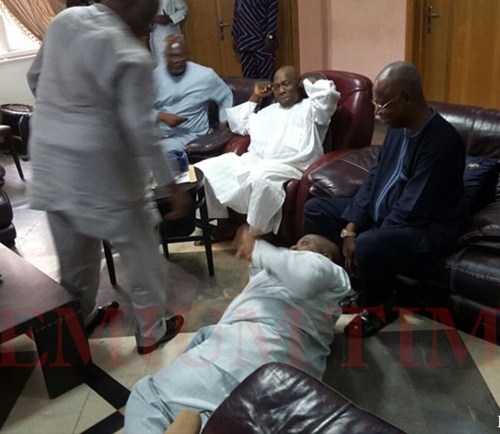 Doyin Okupe prostrates and begs Obasano2