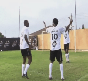 Watch Jay-Jay Okocha show off football skill (Video)