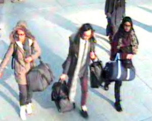 The schoolgirls caught on camera at Gatwick airport to Turkey
