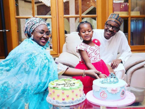 Happy Family!: President Buhari and wife, Aisha celebrate their grand-daughter's 4th birthday (Photo)