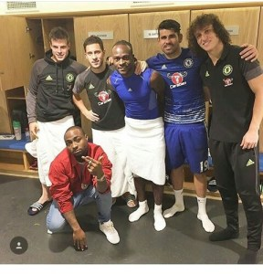 Davido pictured with Victor Moses and team mates.