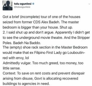 Tolu Ogunlesi speaks on touring one of the houses of Alex Badeh