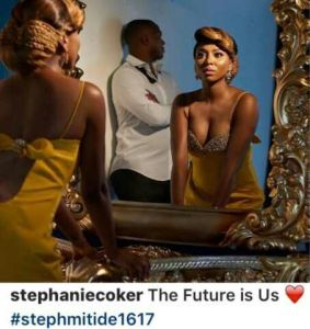 Engaged TV girl,Stephanie Coker shares picture with her man