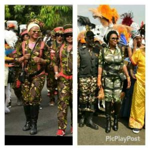 Which first lady rocked the camouflage costume better?