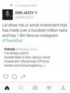 Don Jazzy shades fan on twitter for calling out Korede