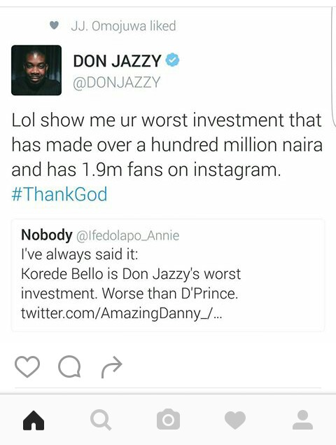 Don Jazzy reply Fan over Korede Bello