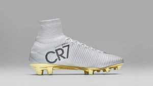 Check out Cristiano Ronaldo's gold CR7 Nike boots after winning fourth Ballon d'Or (Photos)
