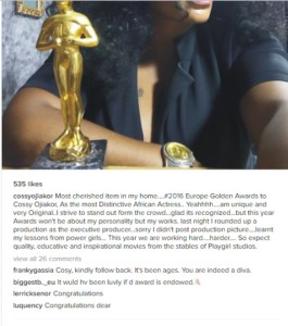 Cossy Orjiakor shares photo of her most priced possession