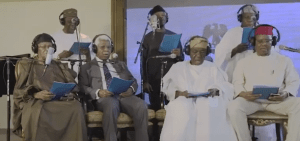 Watch: Gowon, Obasanjo, Shonekan, Ekwueme, Ukiwe, Diya, Osinbajo sing together (Video)