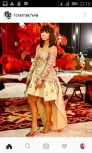 Golden Sugar!Toke Makinwa stuns in Gold