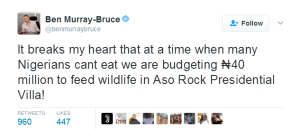 Aso Rock Presidential Villa wildlife feeding budget ₦40 million, when Nigerians are starving – Ben Murray-Bruce