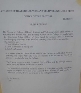 10 male Students of Ekiti College of health sciences rape one female student