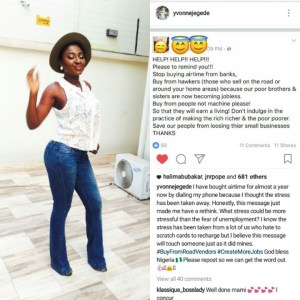 Yvonne Jegede advises fans to stop buying airtime from banks
