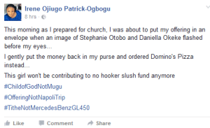Apostle Suleiman saga- Young lady refuses to drop tithe in offering box