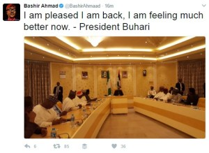 I am pleased I am back- President Buhari tweets