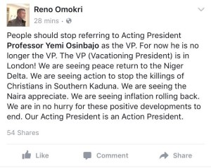 Stop calling Osibanjo the VP,Buhari is the VP -Reno Omokri