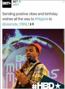BET wishes Olamide a happy birthday with a wrong photo