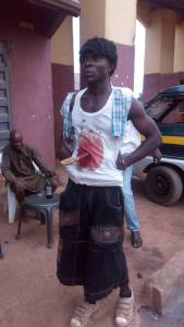 Man in Imo State pulls stunt with knife in his belly- Graphic photos