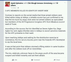 3 APC Members murdered in Benue after being mistaken for armed robbers