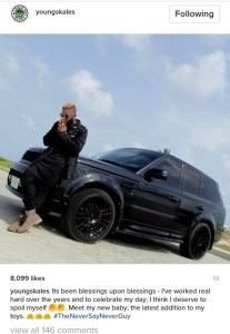 Skales buys himself a range rover to mark his birthday